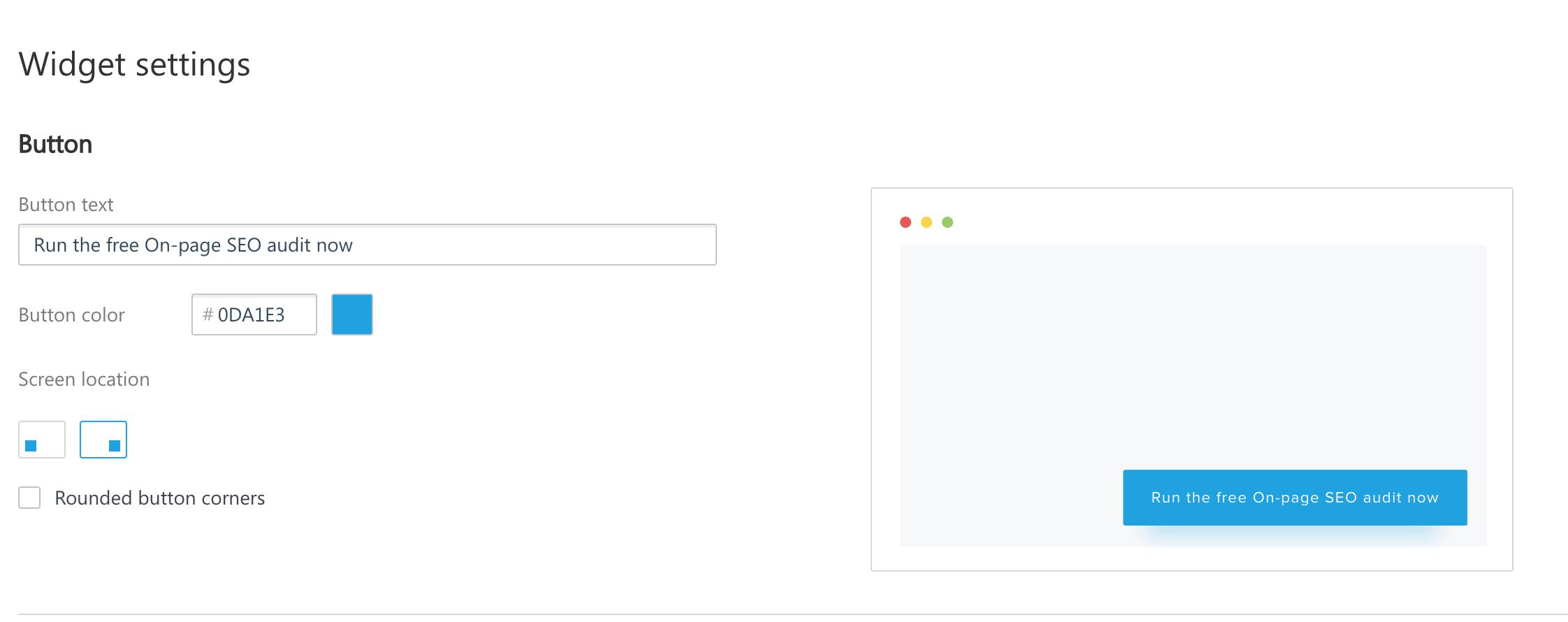 SE Ranking Lead Generator Widget settings