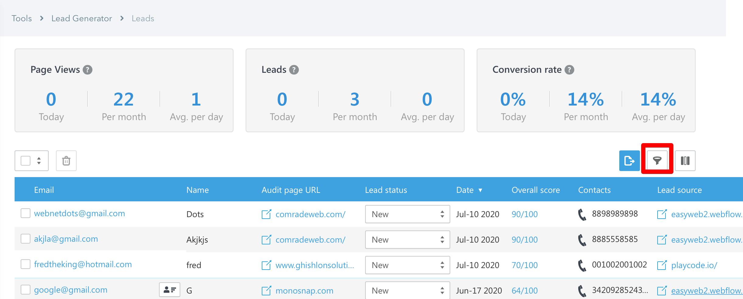 SE Ranking Lead Generator filter