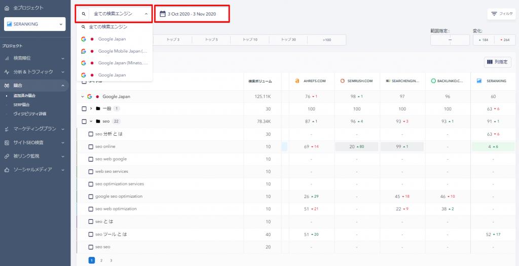 競合サイト・検索エンジンと日付の指定