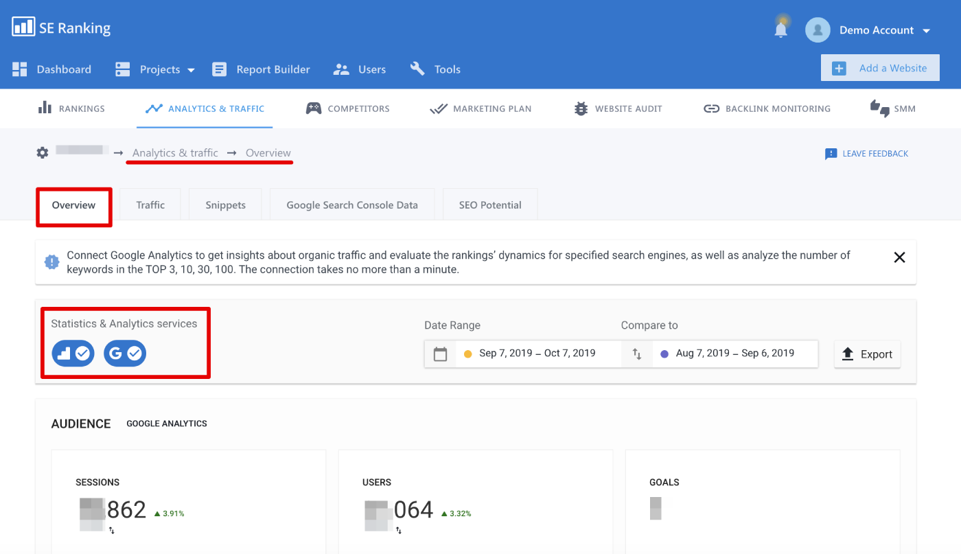 Overview tab in SE Ranking Analytics and Traffic module