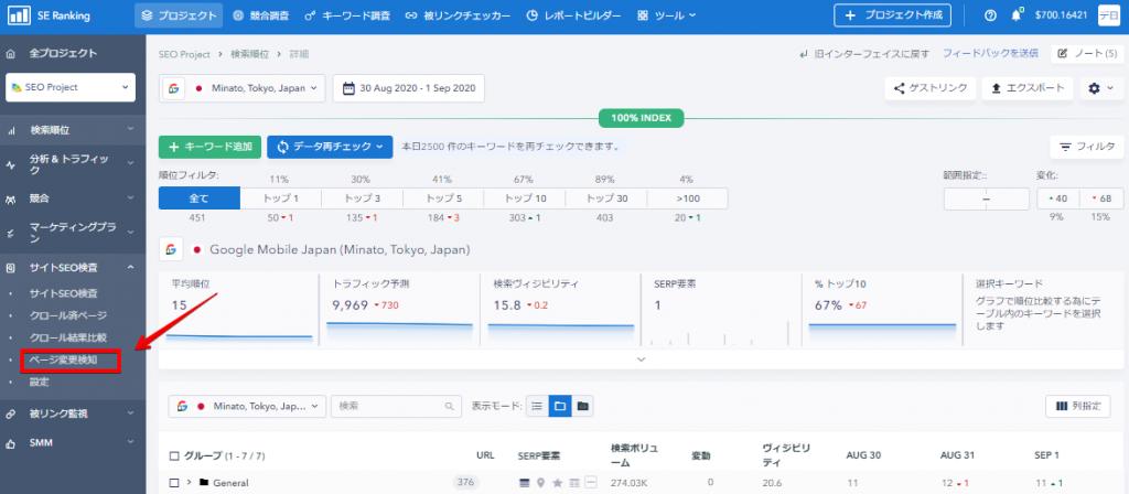 ページ変更検知へのアクセス